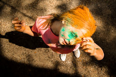 Portrait of a girl for Indian festival of colors Holi Royalty Free Stock Photography