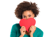 Young Girl Holding a Paper Heart in Hand Stock Photos