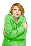 Portrait of a girl in a jacket with a trembling from the cold Stock Image