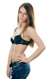 Portrait of the girl in jeans and underwear Stock Images