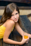 Portrait girl with juice Stock Photography