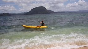 Portrait of a girl in kayak. In the Philippines stock footage