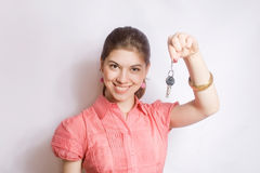 Portrait of the girl with keys in hands. Stock Photo