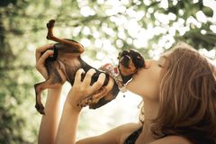 Portrait girl kisses her little black chihuahua royalty free stock images