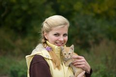 Portrait of  girl with kitten Stock Images