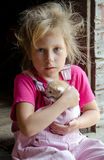 Portrait of girl and kitten Royalty Free Stock Image