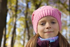 Portrait of  girl in knitted cap Royalty Free Stock Images