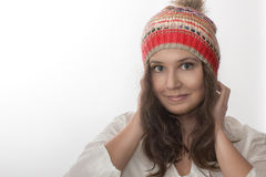 Portrait of a girl with a  knitted hat Stock Photo