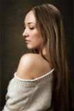 Portrait of girl in knitted sweater Royalty Free Stock Photos