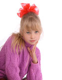 Portrait of girl in  knitted sweater. Royalty Free Stock Photography