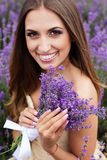 Portrait of girl at lavender field Stock Image