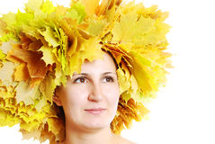 Portrait of the girl with leaves Stock Image