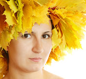 Portrait of the girl with leaves Royalty Free Stock Images