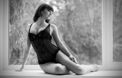 Portrait of girl in lingerie (soft focus) Stock Images