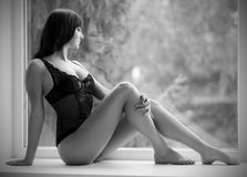 Portrait of girl in lingerie (soft focus) Royalty Free Stock Photography