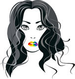 Portrait of a girl with lips the color of the rainbow Stock Image