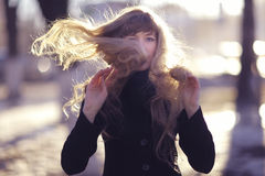 Portrait of a girl with long blond hair Stock Photo