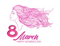 Portrait of a girl with long hair in a profile with the inscription 8 March Women`s Day. Portrait of a woman with long hair in a profile with the inscription 8 royalty free illustration