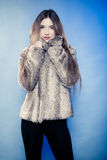 Portrait of girl with long hair. Young woman in fur coat on blue. Stock Photo