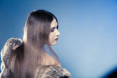 Portrait of girl with long hair. Young woman in fur coat on blue. Royalty Free Stock Photography