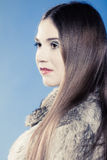 Portrait of girl with long hair. Young woman in fur coat on blue. Stock Photography