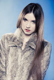Portrait of girl with long hair. Young woman in fur coat on blue. Royalty Free Stock Images