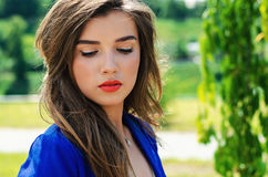 Portrait girl looking down. Portrait beautiful girl looking down Royalty Free Stock Photos