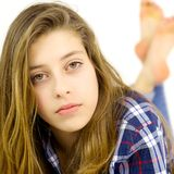Portrait of girl looking serious camera Stock Photos