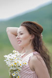 Portrait of girl with loose hair outdoors Royalty Free Stock Photos
