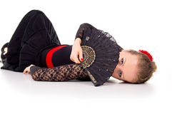 Portrait of a girl lying flamenco dancers Royalty Free Stock Photos