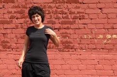 Portrait of girl, she makes gymnastics Stock Photos