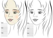 Portrait of girl. makeup sketch template Royalty Free Stock Photos