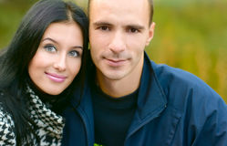 Portrait Girl and man on nature Stock Photos