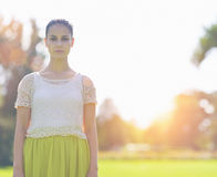 Portrait of girl on meadow Royalty Free Stock Image