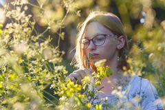 Portrait of a girl at meadow. Girl teenager with glasses at meadow at evening sunshine Stock Image