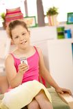 Portrait of girl with mobile phone Royalty Free Stock Photo