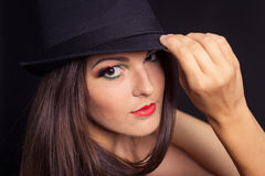 Portrait of a girl model with hat Royalty Free Stock Photos