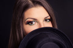 Portrait of a girl model with hat Royalty Free Stock Image