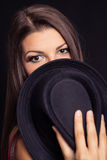 Portrait of a girl model with hat Stock Images