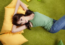 Portrait of a  girl napping on pillow. Royalty Free Stock Images