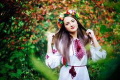 Portrait of a girl in nationac ukrainian clothes Stock Images