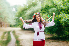 Portrait of a girl in nationac ukrainian clothes Stock Photography