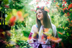 Portrait of a girl in nationac ukrainian clothes Royalty Free Stock Images