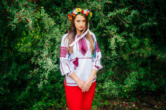 Portrait of a girl in nationac ukrainian clothes Royalty Free Stock Image