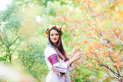 Portrait of a girl in nationac ukrainian clothes Stock Photos