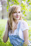 Portrait of a girl near birch Royalty Free Stock Photography