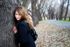 Girl near the tree. Autumn portrait of a teenage girl in park Stock Images