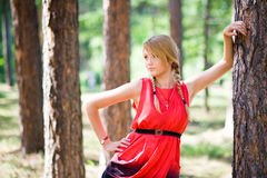 Girl in park. Portrait of a young blonde girl near the tree in park Royalty Free Stock Photo