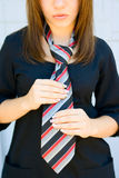 Portrait girl with necktie Stock Photography