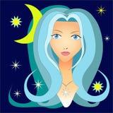 Portrait of a girl in the night sky. Portrait of a girl with blue hair in the night sky Stock Images